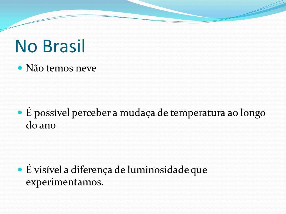 No Brasil Não temos neve É possível perceber a mudaça de temperatura ao longo do ano É visível a diferença de luminosidade que experimentamos.