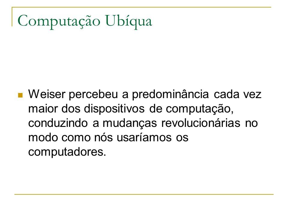 Computação Ubíqua Weiser percebeu a predominância cada vez maior dos dispositivos de computação, conduzindo a mudanças revolucionárias no modo como nós usaríamos os computadores.