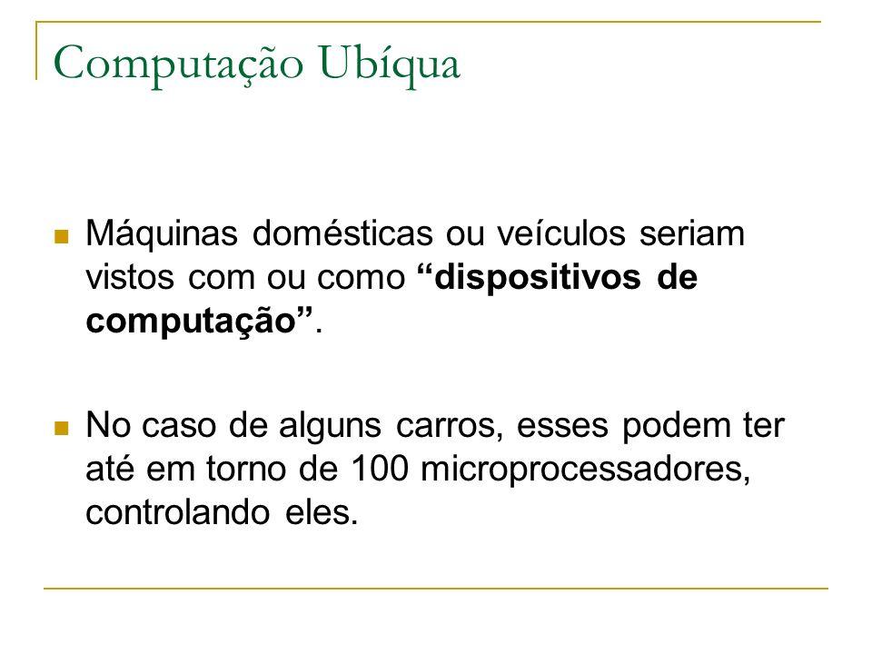Computação Ubíqua Máquinas domésticas ou veículos seriam vistos com ou como dispositivos de computação.