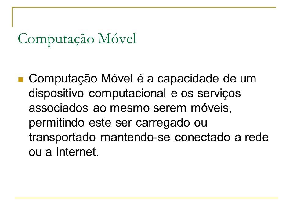 Computação Móvel Computação Móvel é a capacidade de um dispositivo computacional e os serviços associados ao mesmo serem móveis, permitindo este ser carregado ou transportado mantendo-se conectado a rede ou a Internet.