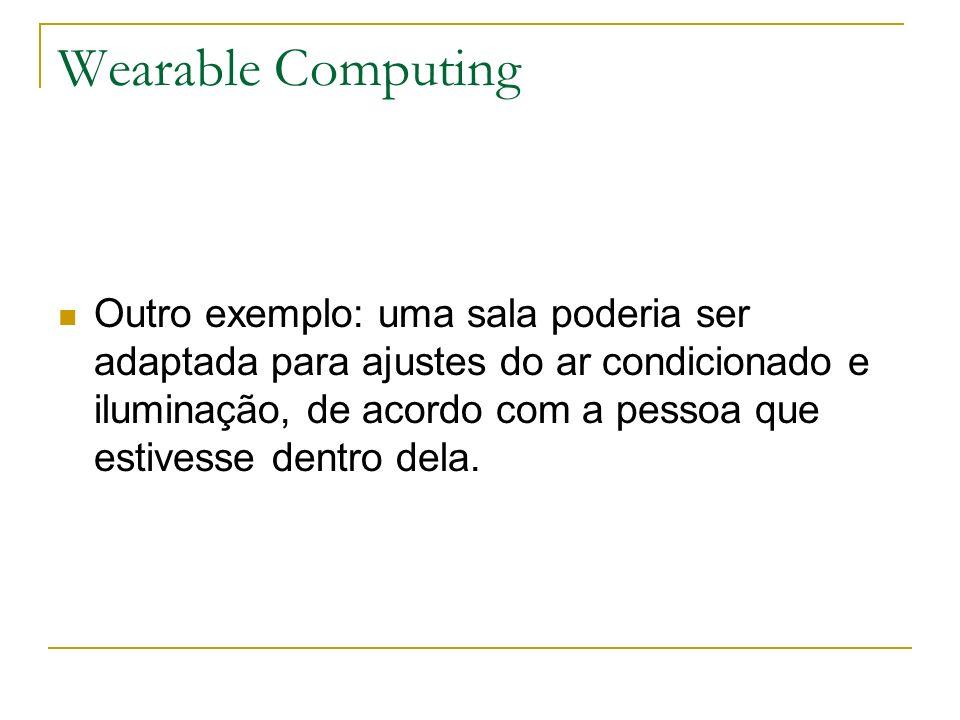 Wearable Computing Outro exemplo: uma sala poderia ser adaptada para ajustes do ar condicionado e iluminação, de acordo com a pessoa que estivesse den