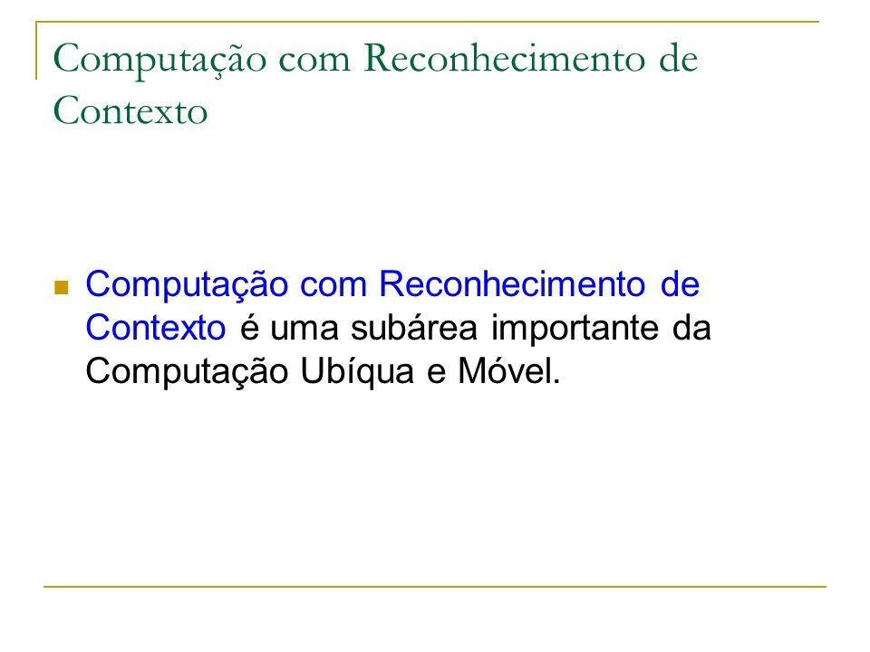 Computação com Reconhecimento de Contexto Computação com Reconhecimento de Contexto é uma subárea importante da Computação Ubíqua e Móvel.