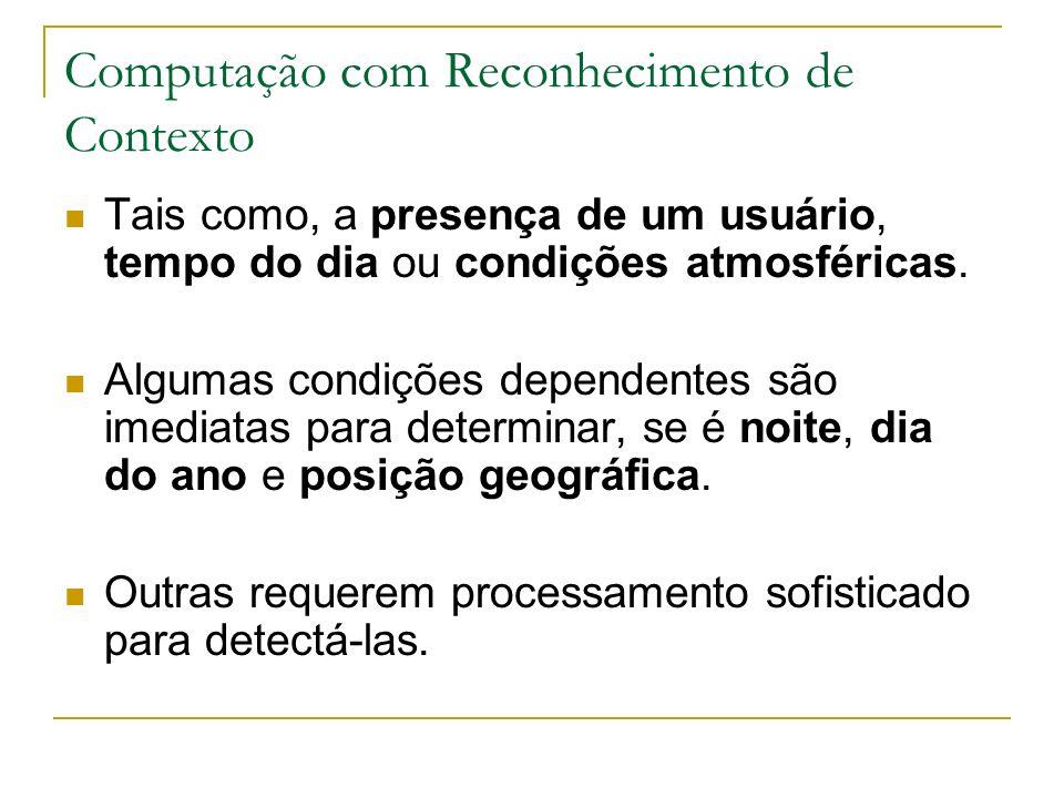 Computação com Reconhecimento de Contexto Tais como, a presença de um usuário, tempo do dia ou condições atmosféricas.