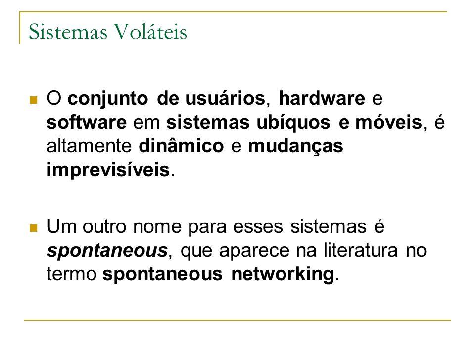 Sistemas Voláteis O conjunto de usuários, hardware e software em sistemas ubíquos e móveis, é altamente dinâmico e mudanças imprevisíveis. Um outro no