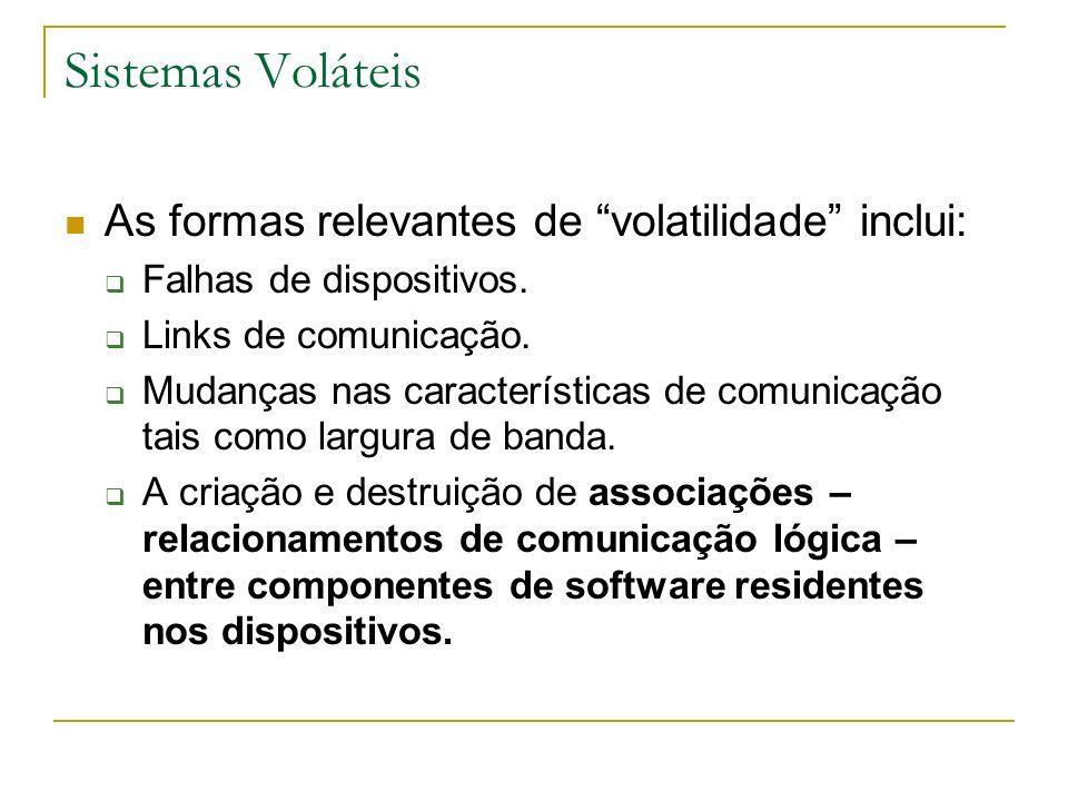Sistemas Voláteis As formas relevantes de volatilidade inclui: Falhas de dispositivos. Links de comunicação. Mudanças nas características de comunicaç