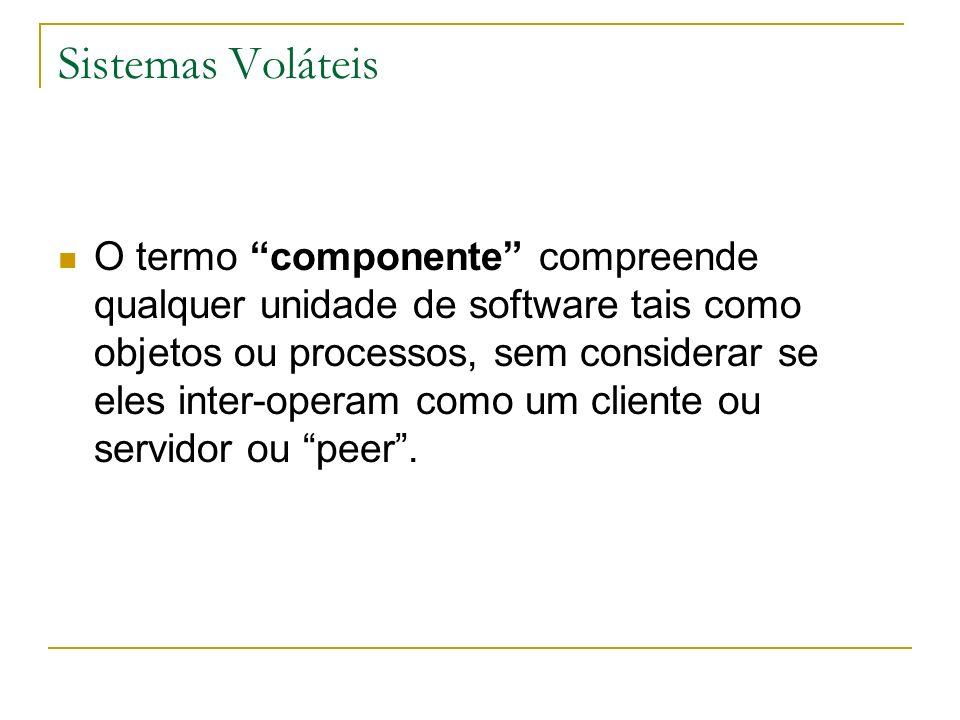 Sistemas Voláteis O termo componente compreende qualquer unidade de software tais como objetos ou processos, sem considerar se eles inter-operam como
