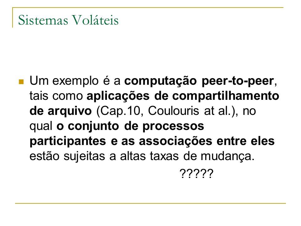 Sistemas Voláteis Um exemplo é a computação peer-to-peer, tais como aplicações de compartilhamento de arquivo (Cap.10, Coulouris at al.), no qual o co