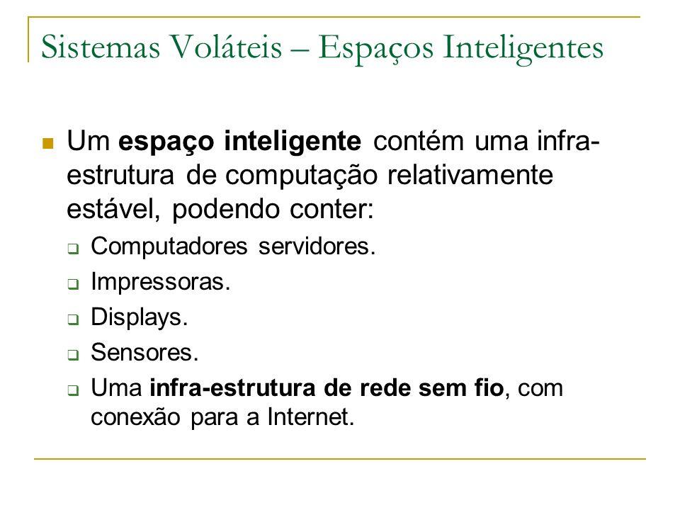 Sistemas Voláteis – Espaços Inteligentes Um espaço inteligente contém uma infra- estrutura de computação relativamente estável, podendo conter: Computadores servidores.