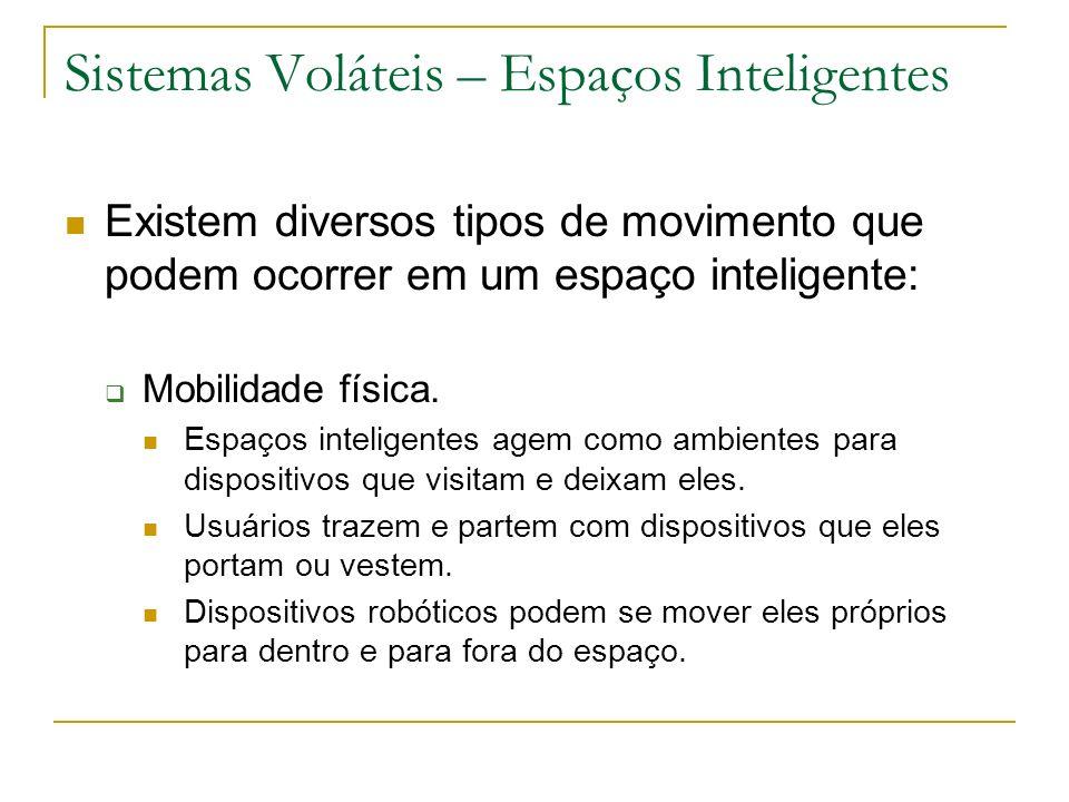 Sistemas Voláteis – Espaços Inteligentes Existem diversos tipos de movimento que podem ocorrer em um espaço inteligente: Mobilidade física. Espaços in