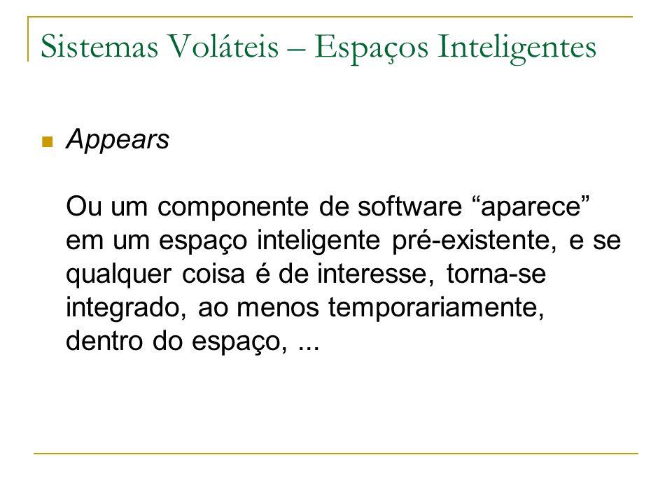 Sistemas Voláteis – Espaços Inteligentes Appears Ou um componente de software aparece em um espaço inteligente pré-existente, e se qualquer coisa é de interesse, torna-se integrado, ao menos temporariamente, dentro do espaço,...