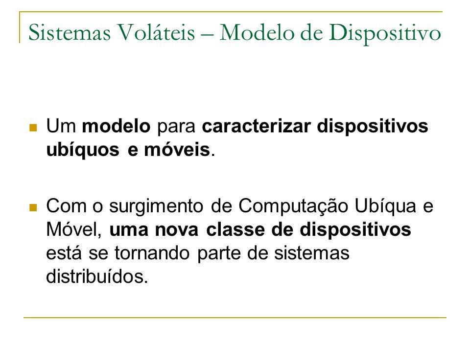 Sistemas Voláteis – Modelo de Dispositivo Um modelo para caracterizar dispositivos ubíquos e móveis. Com o surgimento de Computação Ubíqua e Móvel, um
