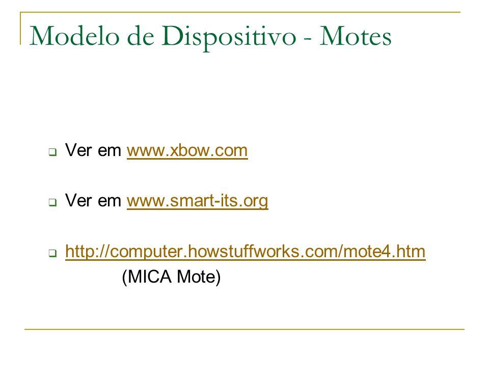 Modelo de Dispositivo - Motes Ver em www.xbow.comwww.xbow.com Ver em www.smart-its.orgwww.smart-its.org http://computer.howstuffworks.com/mote4.htm (MICA Mote)