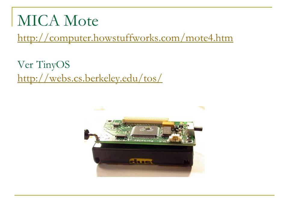MICA Mote http://computer.howstuffworks.com/mote4.htm Ver TinyOS http://webs.cs.berkeley.edu/tos/ http://computer.howstuffworks.com/mote4.htm http://webs.cs.berkeley.edu/tos/