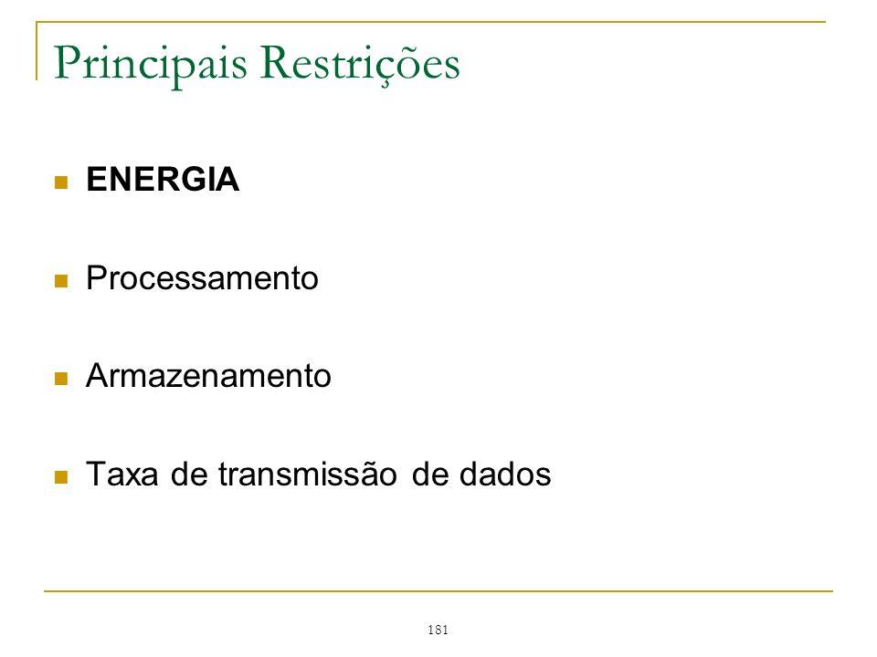 181 Principais Restrições ENERGIA Processamento Armazenamento Taxa de transmissão de dados