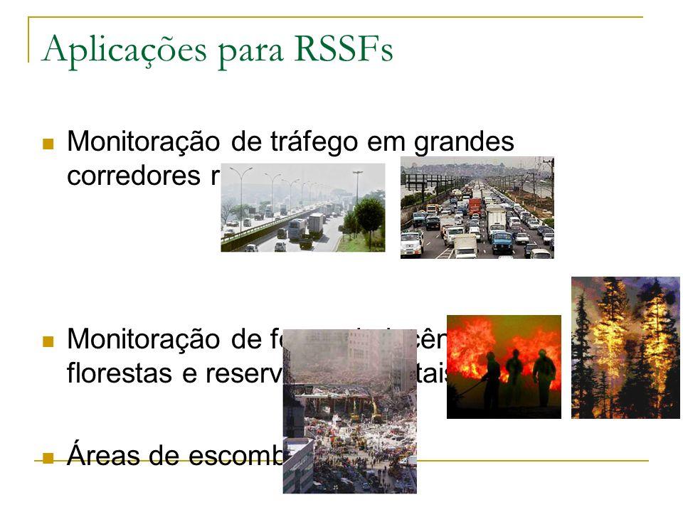 183 Aplicações para RSSFs Monitoração de tráfego em grandes corredores rodoviários Monitoração de focos de incêndio em florestas e reservas ambientais Áreas de escombros