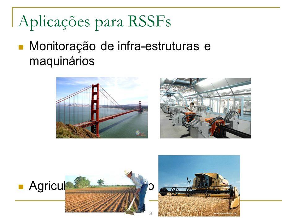 186 Aplicações para RSSFs Monitoração de infra-estruturas e maquinários Agricultura de precisão