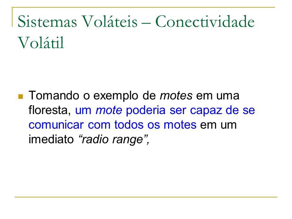 Sistemas Voláteis – Conectividade Volátil Tomando o exemplo de motes em uma floresta, um mote poderia ser capaz de se comunicar com todos os motes em um imediato radio range,