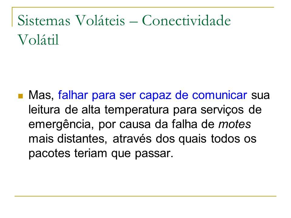 Sistemas Voláteis – Conectividade Volátil Mas, falhar para ser capaz de comunicar sua leitura de alta temperatura para serviços de emergência, por cau