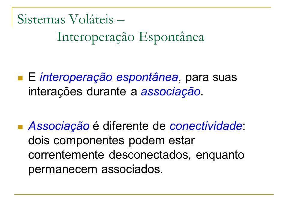 Sistemas Voláteis – Interoperação Espontânea E interoperação espontânea, para suas interações durante a associação. Associação é diferente de conectiv