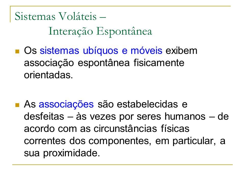 Sistemas Voláteis – Interação Espontânea Os sistemas ubíquos e móveis exibem associação espontânea fisicamente orientadas.