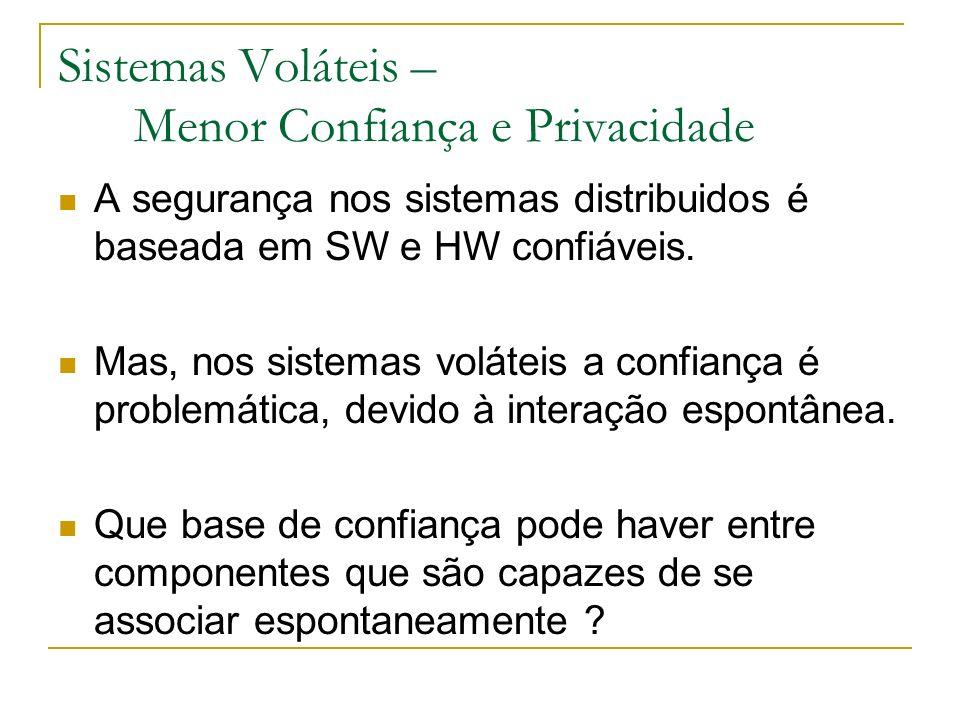 Sistemas Voláteis – Menor Confiança e Privacidade A segurança nos sistemas distribuidos é baseada em SW e HW confiáveis. Mas, nos sistemas voláteis a
