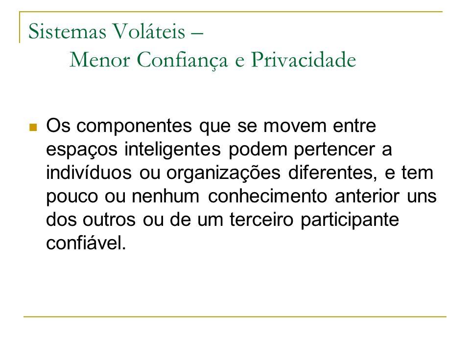 Sistemas Voláteis – Menor Confiança e Privacidade Os componentes que se movem entre espaços inteligentes podem pertencer a indivíduos ou organizações