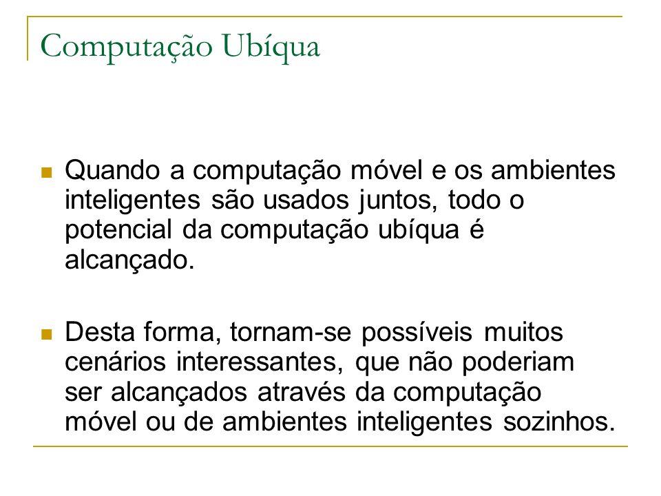 Computação Ubíqua Quando a computação móvel e os ambientes inteligentes são usados juntos, todo o potencial da computação ubíqua é alcançado.
