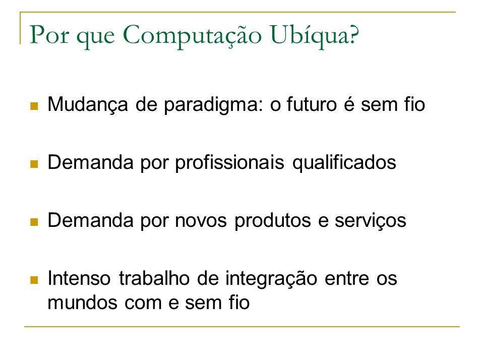 Por que Computação Ubíqua? Mudança de paradigma: o futuro é sem fio Demanda por profissionais qualificados Demanda por novos produtos e serviços Inten