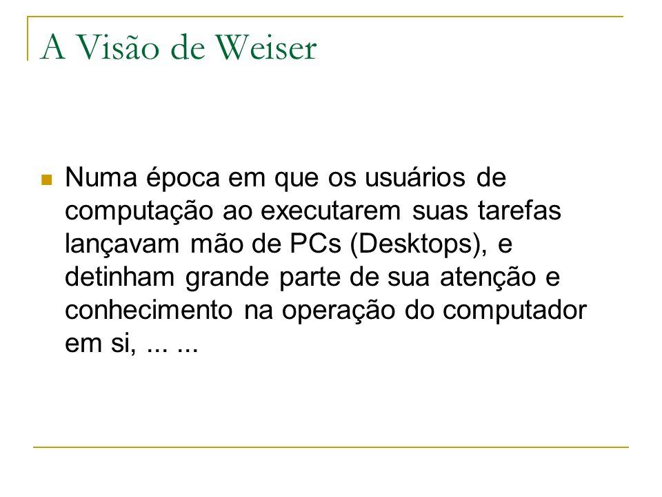 A Visão de Weiser Numa época em que os usuários de computação ao executarem suas tarefas lançavam mão de PCs (Desktops), e detinham grande parte de sua atenção e conhecimento na operação do computador em si,......