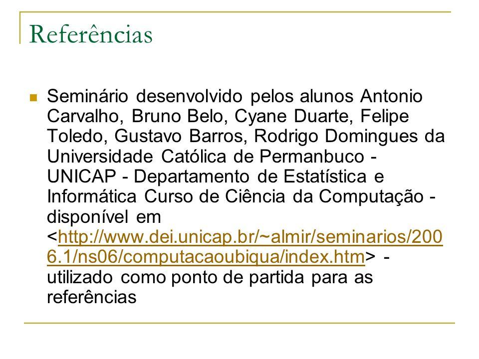 Referências Seminário desenvolvido pelos alunos Antonio Carvalho, Bruno Belo, Cyane Duarte, Felipe Toledo, Gustavo Barros, Rodrigo Domingues da Univer