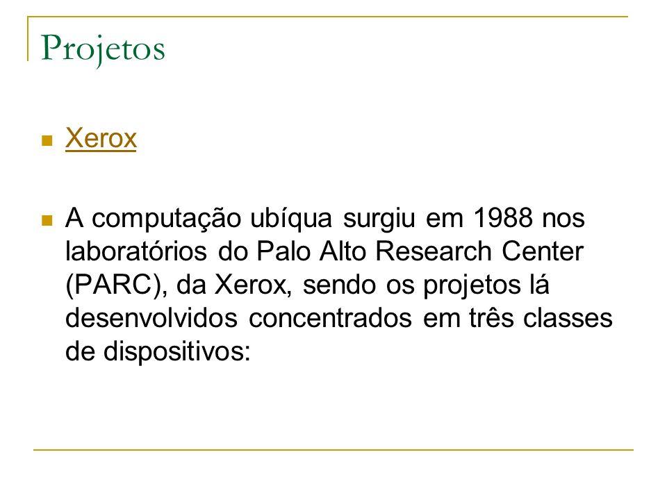 Projetos Xerox A computação ubíqua surgiu em 1988 nos laboratórios do Palo Alto Research Center (PARC), da Xerox, sendo os projetos lá desenvolvidos concentrados em três classes de dispositivos:
