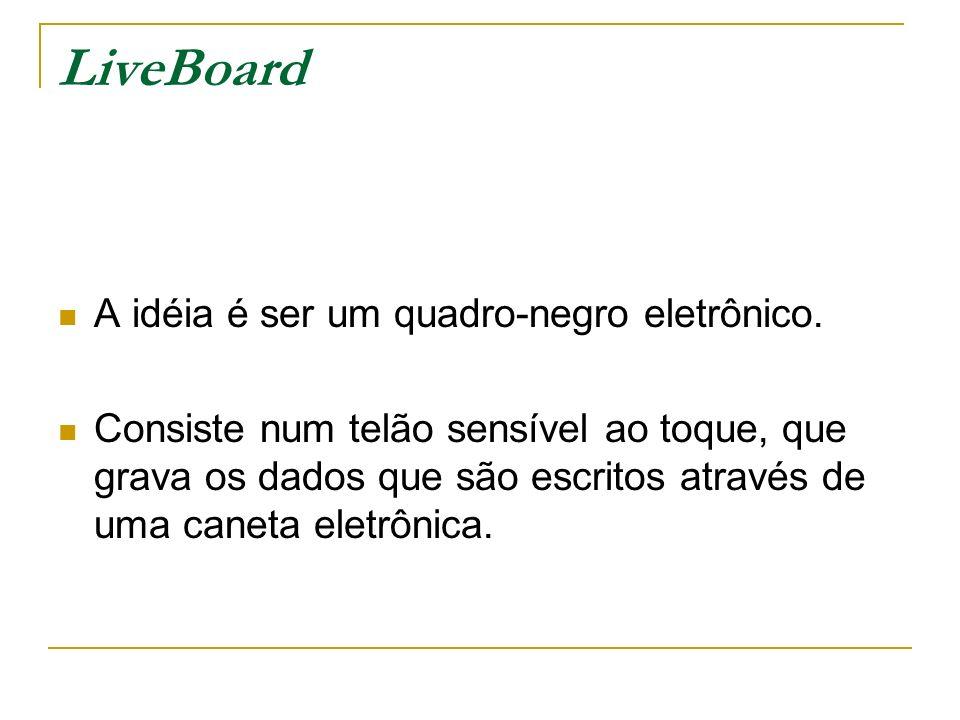 LiveBoard A idéia é ser um quadro-negro eletrônico. Consiste num telão sensível ao toque, que grava os dados que são escritos através de uma caneta el