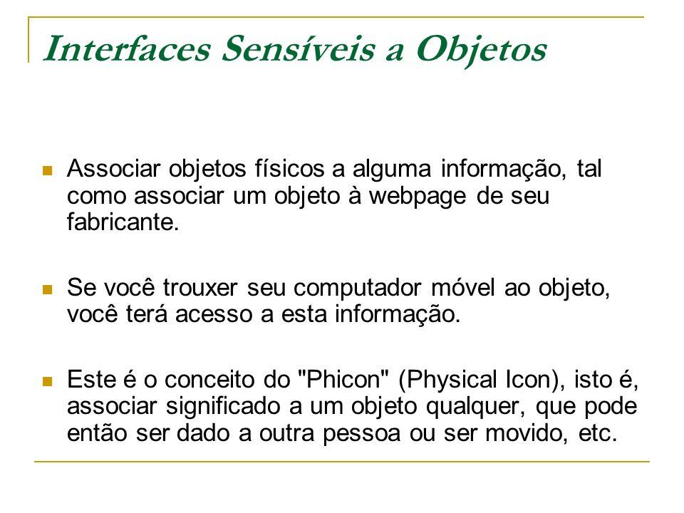 Interfaces Sensíveis a Objetos Associar objetos físicos a alguma informação, tal como associar um objeto à webpage de seu fabricante.