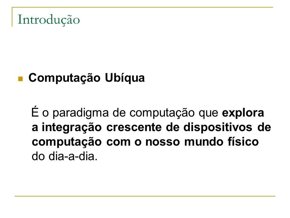 Introdução Computação Ubíqua É o paradigma de computação que explora a integração crescente de dispositivos de computação com o nosso mundo físico do dia-a-dia.