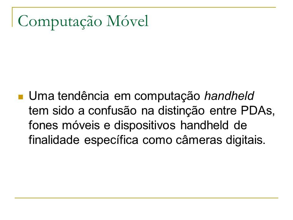 Computação Móvel Uma tendência em computação handheld tem sido a confusão na distinção entre PDAs, fones móveis e dispositivos handheld de finalidade