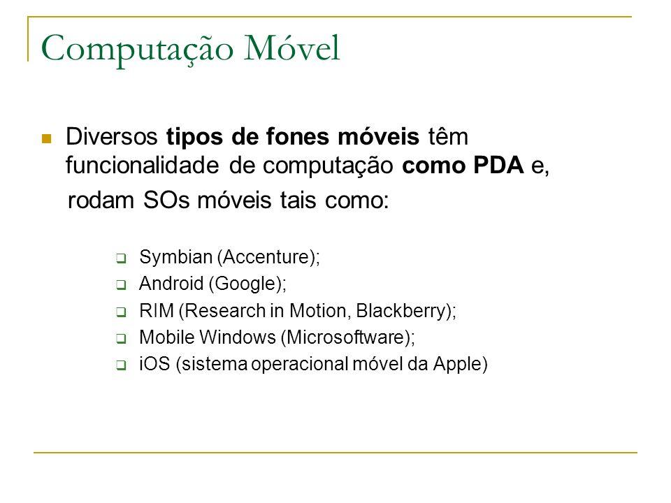 Computação Móvel Diversos tipos de fones móveis têm funcionalidade de computação como PDA e, rodam SOs móveis tais como: Symbian (Accenture); Android (Google); RIM (Research in Motion, Blackberry); Mobile Windows (Microsoftware); iOS (sistema operacional móvel da Apple)