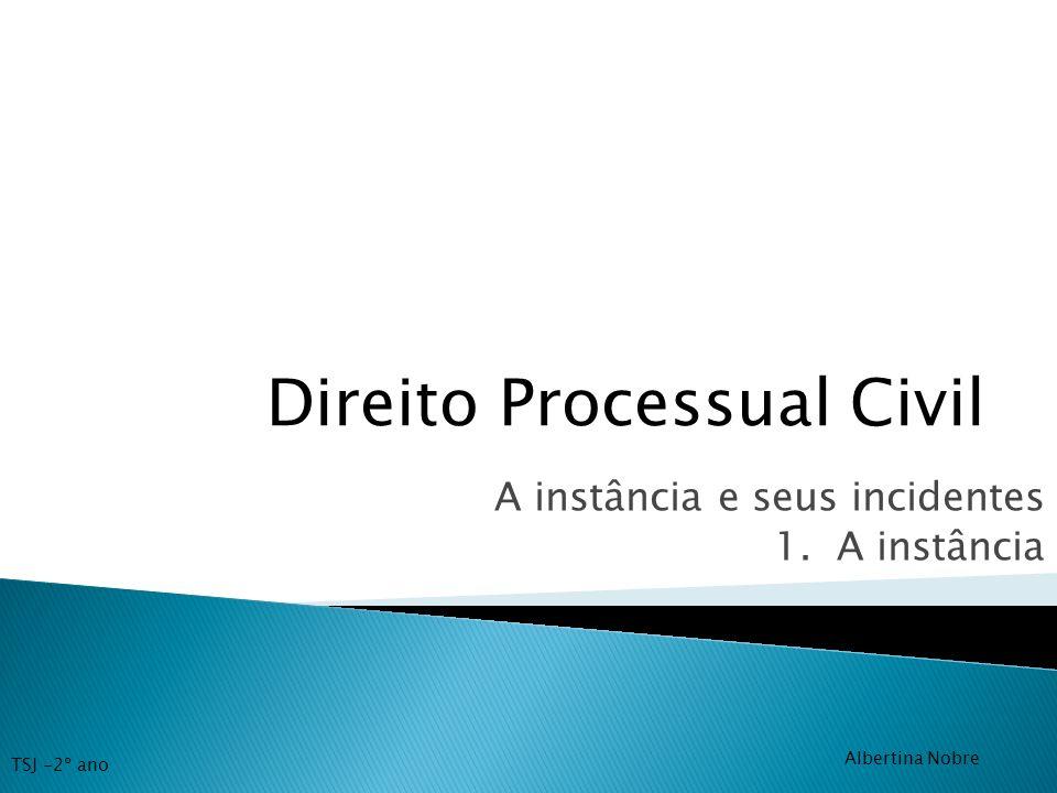 Direito Processual Civil A instância e seus incidentes 1. A instância TSJ -2º ano Albertina Nobre
