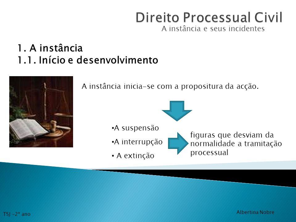 A instância e seus incidentes 1. A instância 1.1. Início e desenvolvimento A instância inicia-se com a propositura da acção. A suspensão A interrupção