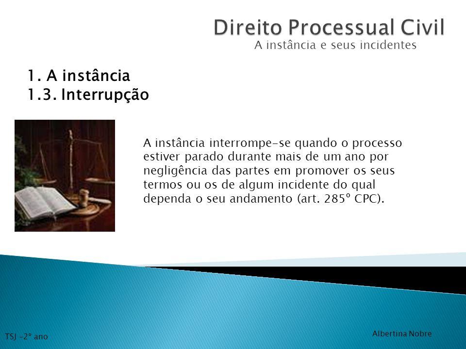 A instância e seus incidentes 1. A instância 1.3. Interrupção A instância interrompe-se quando o processo estiver parado durante mais de um ano por ne
