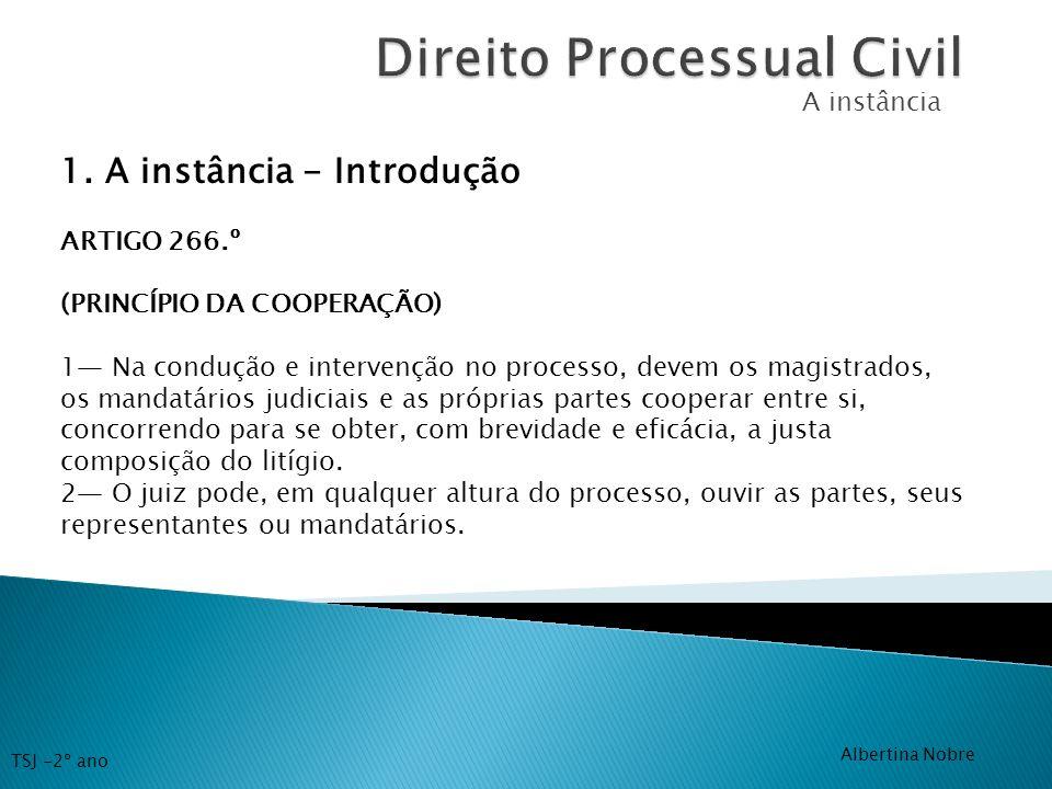 A instância 1. A instância - Introdução ARTIGO 266.º (PRINCÍPIO DA COOPERAÇÃO) 1 Na condução e intervenção no processo, devem os magistrados, os manda