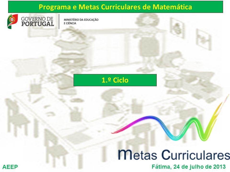António Bivar Carlos Grosso Filipe Oliveira Maria Clementina Timóteo Programa e Metas Curriculares de Matemática 1.º Ciclo Fátima, 24 de julho de 2013