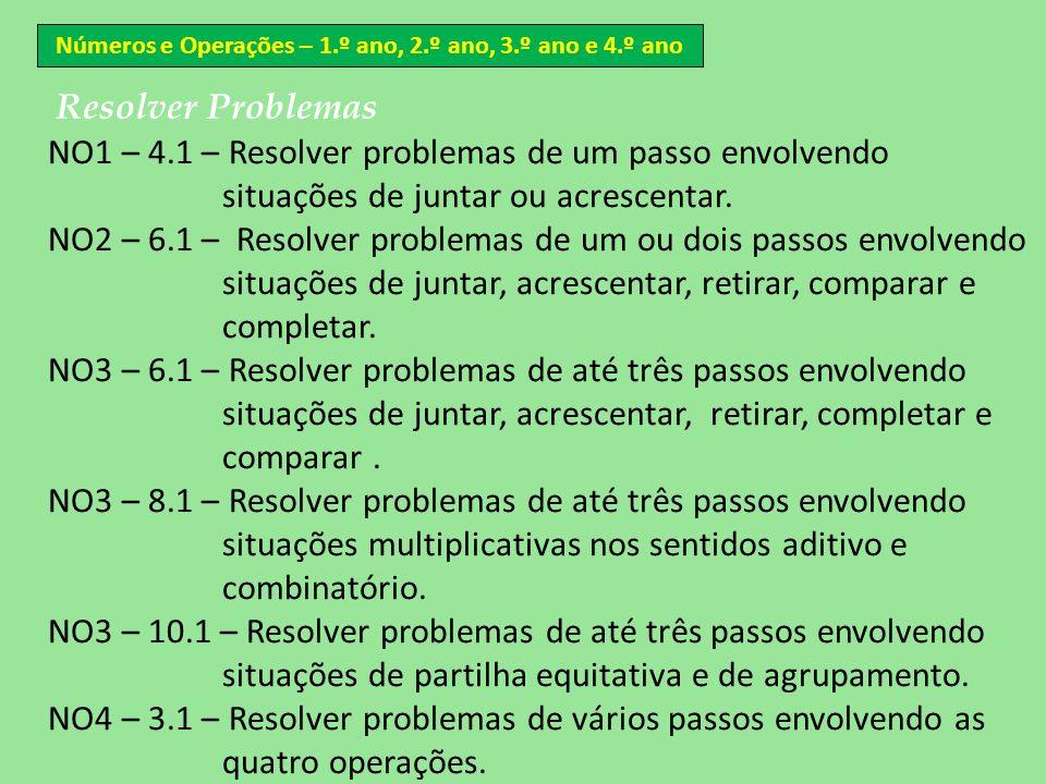 Números e Operações – 1.º ano, 2.º ano, 3.º ano e 4.º ano Resolver Problemas NO1 – 4.1 – Resolver problemas de um passo envolvendo situações de juntar
