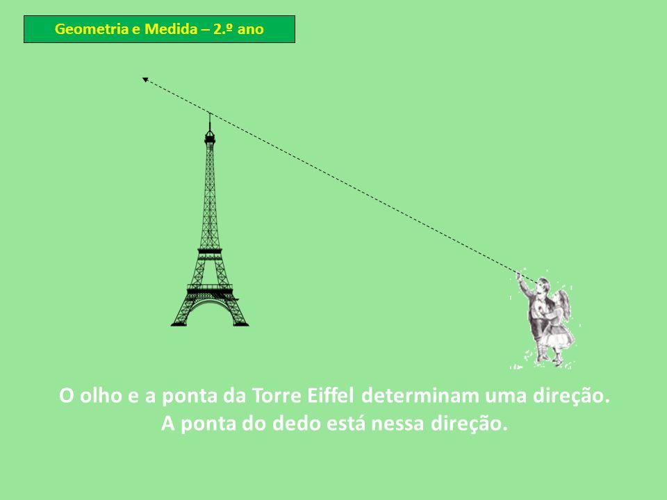 O olho e a ponta da Torre Eiffel determinam uma direção. A ponta do dedo está nessa direção. Geometria e Medida – 2.º ano