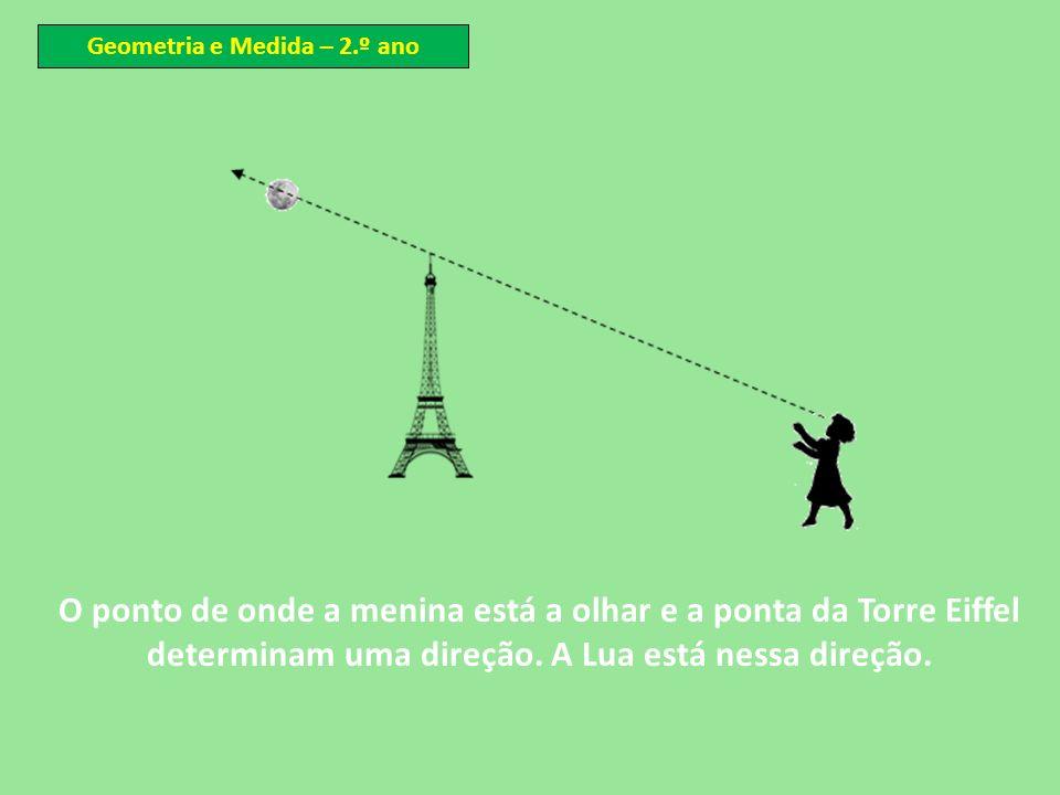O ponto de onde a menina está a olhar e a ponta da Torre Eiffel determinam uma direção. A Lua está nessa direção. Geometria e Medida – 2.º ano