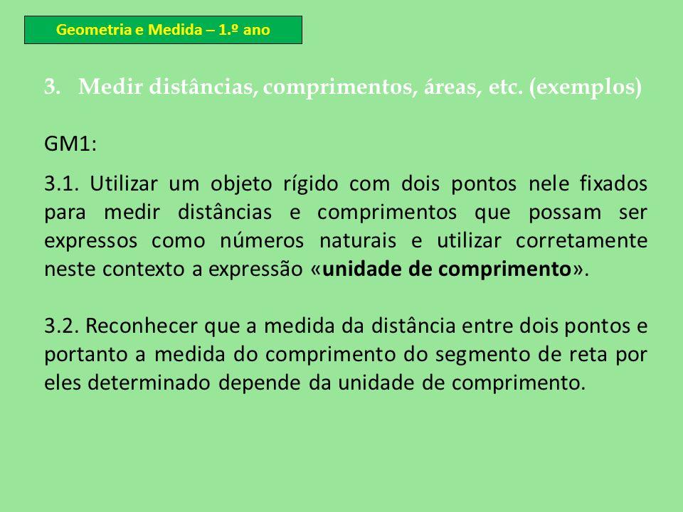 3.Medir distâncias, comprimentos, áreas, etc. (exemplos) GM1: 3.1. Utilizar um objeto rígido com dois pontos nele fixados para medir distâncias e comp