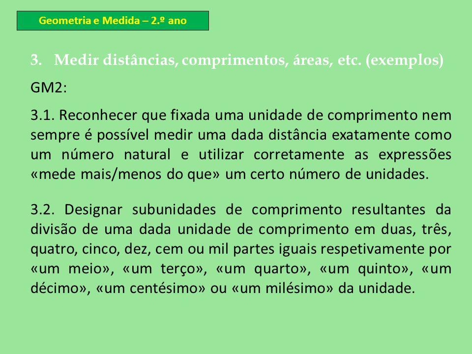 3.Medir distâncias, comprimentos, áreas, etc. (exemplos) GM2: 3.1. Reconhecer que fixada uma unidade de comprimento nem sempre é possível medir uma da