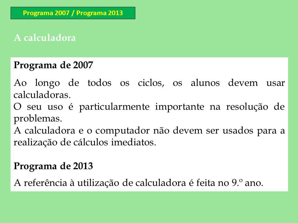 A calculadora Programa de 2007 Ao longo de todos os ciclos, os alunos devem usar calculadoras. O seu uso é particularmente importante na resolução de