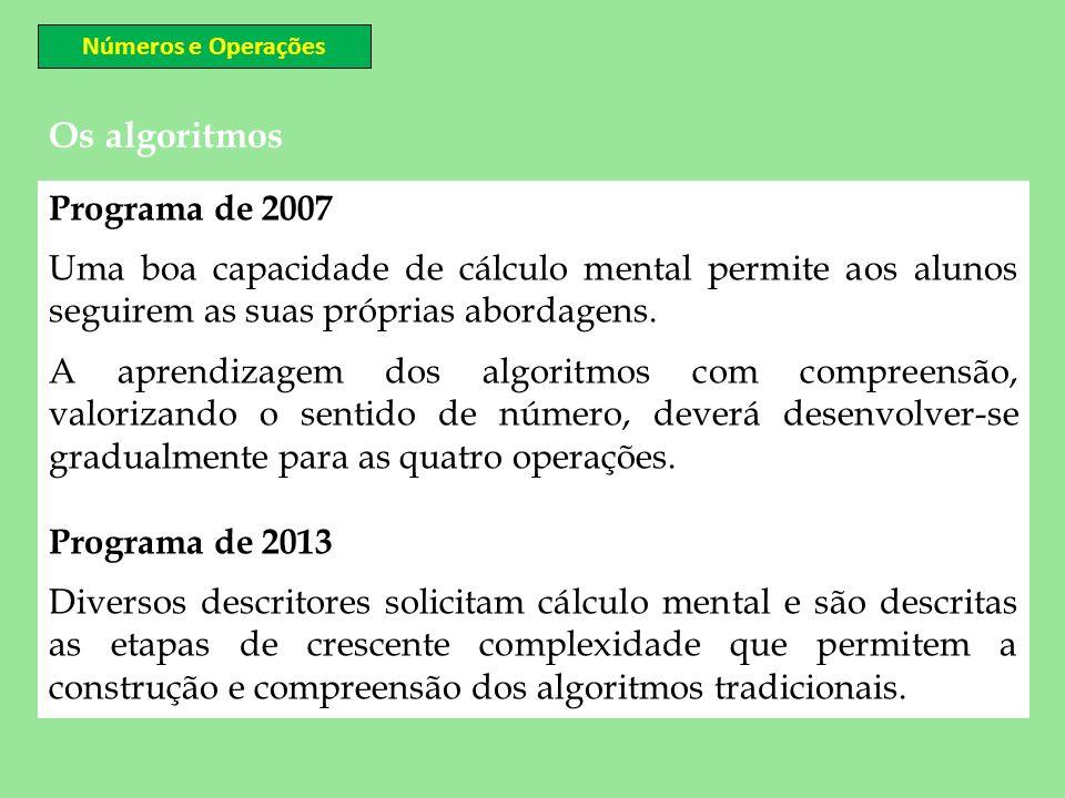 Os algoritmos Números e Operações Programa de 2007 Uma boa capacidade de cálculo mental permite aos alunos seguirem as suas próprias abordagens. A apr