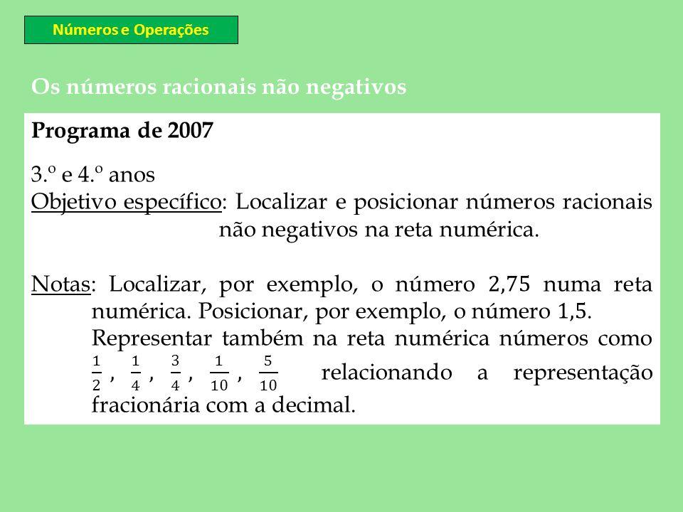Os números racionais não negativos Números e Operações