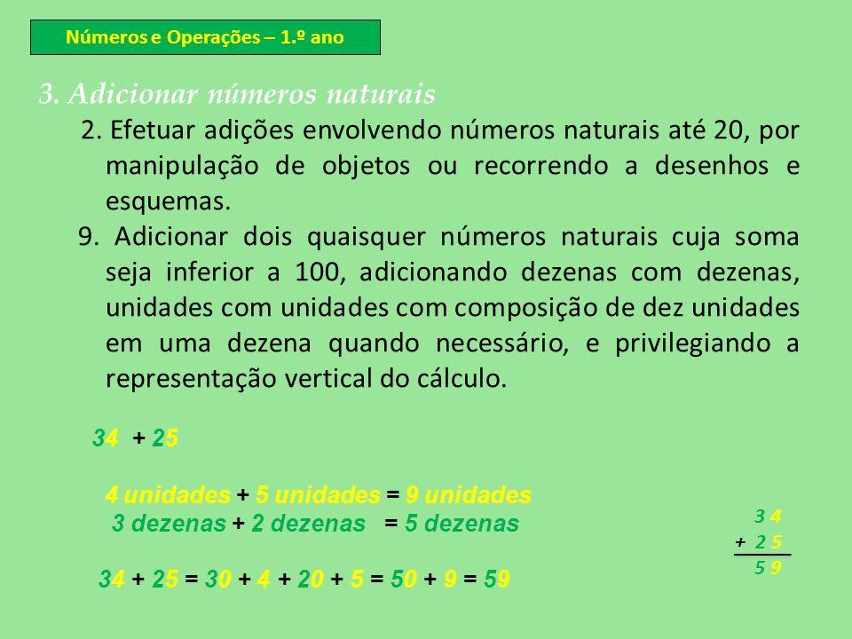 Números e Operações – 1.º ano 3. Adicionar números naturais 2. Efetuar adições envolvendo números naturais até 20, por manipulação de objetos ou recor